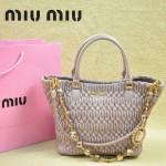 MIU MIU 0896-1 繆繆新款女士進口香皮粉紫色手提包 單肩包