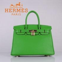 HERMES 6088-5 新款頭層牛皮Birbin柏金款30CM果綠色金扣荔枝紋手提包
