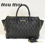MIUMIU RN1016-2 新款奢華黑色褶皺羊皮蝙蝠手提斜挎女包