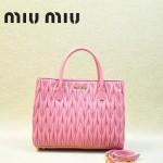 MIUMIU 1047-6 新款經典櫻花粉女士羊皮皺褶納帕皮包手提包
