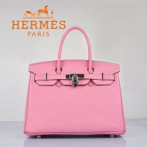 HERMES 6088-10 新款女包櫻花粉銀扣Birkin鉑金包30CM荔枝紋牛皮手提包