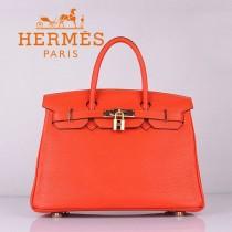HERMES 6088-3 休閑女包 30CM鉑金包  荔枝紋手提包 橙色金扣流行包