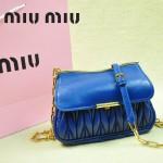 MIUMIU 1898-4 新款時尚人氣寶藍色褶皺牛皮女士迷你小包鏈條包
