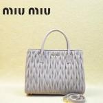 MIUMIU 1047-5 新款經典淺紫色女士羊皮皺褶納帕皮包手提包