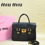 MIUMIU 1013S-2 新款黑色原版皮山羊皮歐美鎖扣翻蓋手提單肩小包