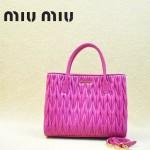 MIUMIU 1047-7 新款經典玫紅色女士羊皮皺褶納帕皮包手提包