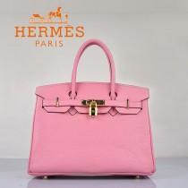 HERMES 6088-9 新款女包櫻花粉金扣Birkin鉑金包30CM荔枝紋牛皮手提包
