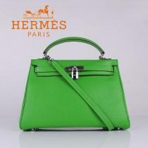 HERMES 6108-4 名媛女包 牛皮荔枝紋凱莉32CM果綠色銀扣單肩手提包
