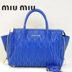 MIUMIU RN1016 新款奢華寶藍色褶皺羊皮蝙蝠手提斜挎女包