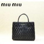 MIUMIU 1047-3 新款經典黑色女士羊皮皺褶納帕皮包手提包