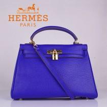 HERMES 6108 歐美高檔牛皮女包 Kelly凱莉手提包 電光藍金扣32CM荔枝紋單肩斜跨包
