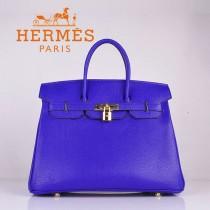 HERMES 6089-7 时尚流行女包 Birkin铂金包電光藍金扣荔枝纹35CM手提包