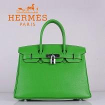 HERMES 6088-6 新款頭層牛皮Birbin柏金款30CM果綠色銀扣荔枝紋手提包