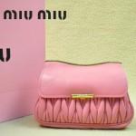 MIUMIU 1898-9 新款時尚人氣櫻花粉褶皺牛皮女士迷你小包鏈條包