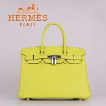 HERMES 6088-8 新款女包檸檬黃銀扣Birkin鉑金包30CM荔枝紋牛皮手提包