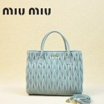 MIUMIU 1047-2 新款經典粉藍色女士羊皮皺褶納帕皮包手提單肩包