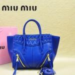 MIUMIU 1031-4 新款原版寶藍色大小號羊皮蝙蝠包手提單肩女包