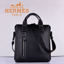 HERMES 8077 最新男式公文包黑色頭層荔枝紋牛皮堅款時尚型包包