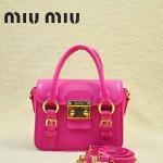 MIUMIU 1014-3 新款玫紅色原版皮山羊皮迷你鎖扣翻蓋手提單肩小包