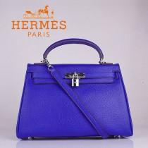 HERMES 6108-2 超大牌32CM電光藍銀扣荔枝紋牛皮手提單肩Kelly凱莉包