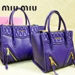 MIUMIU 1031-2 新款原版深紫色大小號羊皮蝙蝠包手提單肩女包