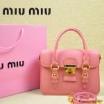 MIUMIU 1013S-6 新款櫻花粉原版皮山羊皮歐美鎖扣翻蓋手提單肩小包