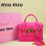 MIUMIU 1013S-3 新款玫紅色原版皮山羊皮歐美鎖扣翻蓋手提單肩小包