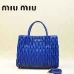 MIUMIU 1047 新款經典寶藍色女士羊皮皺褶納帕皮包手提單肩包