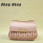MIUMIU 1898-7 新款時尚人氣淺粉色褶皺牛皮女士迷你小包鏈條包