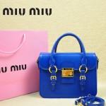 MIUMIU 1013S 新款藍色原版皮山羊皮歐美鎖扣翻蓋手提單肩小包