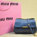 MIUMIU 1898-2 新款時尚人氣灰藍色褶皺牛皮女士迷你小包鏈條包