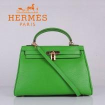 HERMES 6108-3 名媛女包 牛皮荔枝紋凱莉32CM果綠色金扣單肩手提包