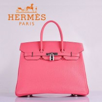 HERMES 6089-6 時尚流行女包 Birkin鉑金包唇膏粉銀扣荔枝紋35CM手提包