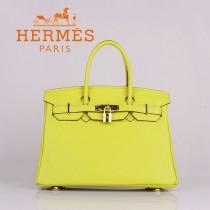 HERMES 6088-7 新款女包檸檬黃金扣Birkin鉑金包30CM荔枝紋牛皮手提包