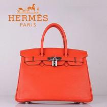 HERMES 6088-4 超人氣時尚明星女包 Brikin鉑金包 橙色銀扣荔枝紋 30cm女手提包