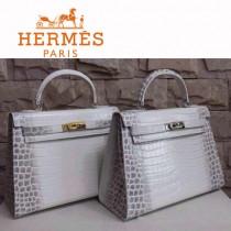 HERMES 946 新款人氣熱銷單品女士灰配白鱷魚紋金扣包包