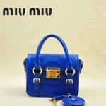 MIUMIU 1014-2 新款藍色原版皮山羊皮迷你鎖扣翻蓋手提單肩小包