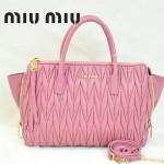 MIUMIU 1016-5 新款時尚粉紅色側拉鏈皺褶羊皮蝙蝠大耳朵手提單肩包