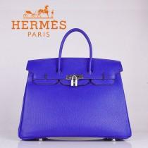 HERMES 6089-8 时尚流行女包 Birkin铂金包電光藍銀扣荔枝纹35CM手提包