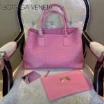 BV-5211-8 經典菜籃子手工羊皮編織 胭脂粉