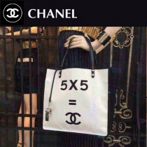 chanel02 新款白色帆布手提購物袋