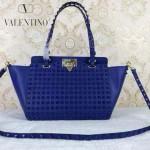 VALENTINO 023-3 潮流經典款藍色原版皮滿天星鉚釘小號手提單肩包