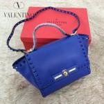 VALENTINO 014-6 潮流新款熒光藍色原版皮中號蝙蝠包單肩包