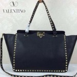 VALENTINO 05-2  時尚新款女士黑色大號橫款鉚釘包購物袋
