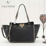VALENTINO 022-2 新款女士黑色原版皮荔枝紋鉚釘包手提單肩包