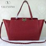 VALENTINO 024-2 高端奢華女士紅色原版皮滿天星鉚釘大號蝙蝠包