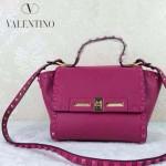 VALENTINO 013 歐美百搭新款玫紅色原版皮小號蝙蝠包單肩包