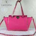 VALENTINO 06-8 歐美新款女士新玫紅色小號鉚釘包單肩手提包