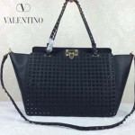 VALENTINO 024 高端奢華女士黑色原版皮滿天星鉚釘大號蝙蝠包