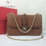 VALENTINO 08-7 高貴典雅女士土黃全皮鉚釘鏈條晚宴包手拿包
